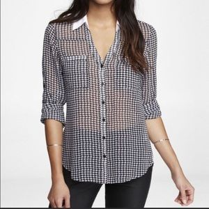 EXPRESS Original Fit Houndstooth Portofino Shirt